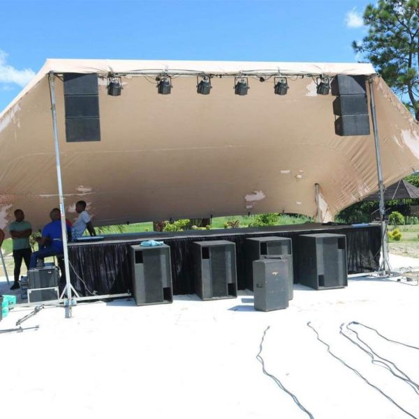 4 Piece stage with cover and lighting