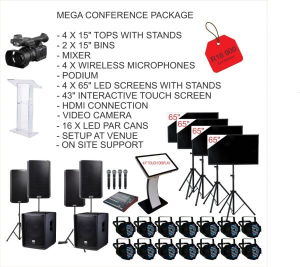 Package includes Sound, Podium/Lecturn/ TVs and lighting